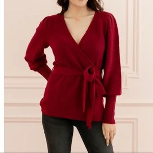 Rachel Parcell Red Wrap Sweater